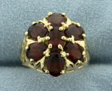 3 1/2ct TW Garnet Flower Ring in 14K Yellow Gold