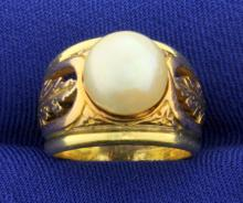 Vintage Pearl Ring in 18K Rose and Yellow Gold