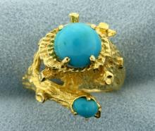 Persian Turquoise Nature Tree Design Ring in 18K Yellow Gold