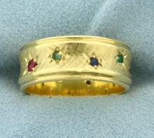 Diamond, Ruby, Sapphire, and Emerald Band Ring in 18K Yellow Gold
