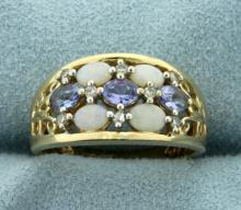 Opal, Tanzanite, and Diamond Ring in 10K Yellow Gold