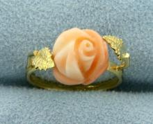 Pink Coral Rose Ring in 18K Yellow Gold