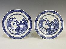 A rare pair of 18th Century Chinese octagonal