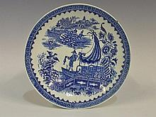 A Worcester Fisherman pattern shallow bowl, printed