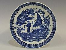 A Caughley Fisherman pattern shallow dish, printed