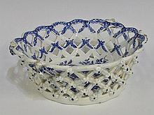 A Bow chestnut basket of interlaced floral moulded