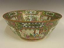 A large Canton Famille Rose circular punch bowl
