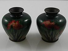 A pair of miniature cloisonné enamel vases of