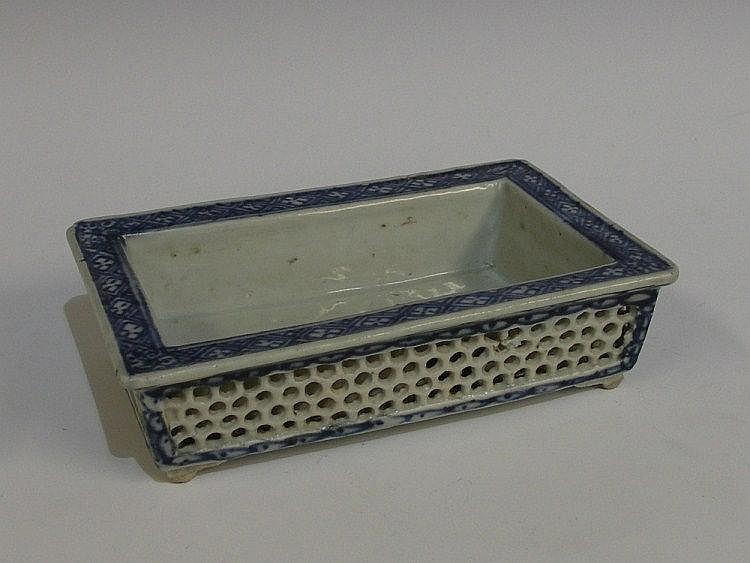 A Chinese porcelain rectangular pot decorated in
