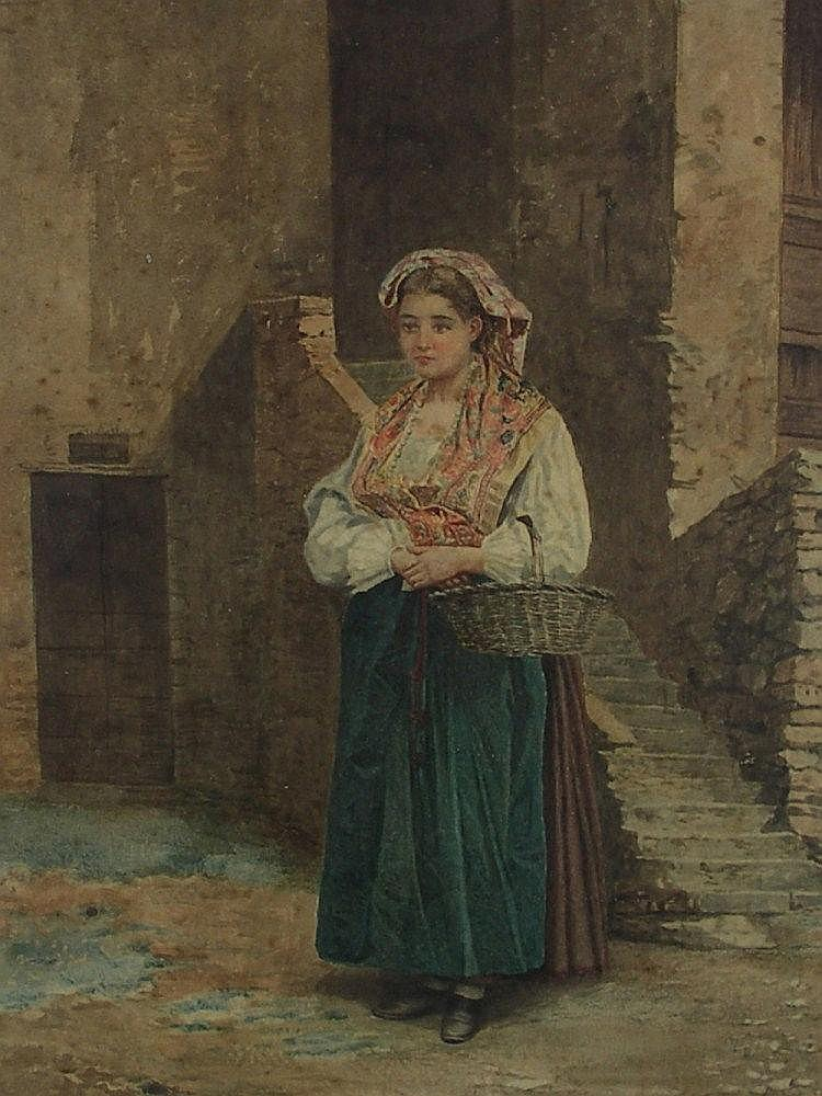 European School - young woman by steps outside a