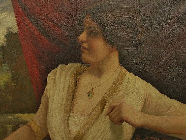 R. Dowling - portrait of a woman before a draped