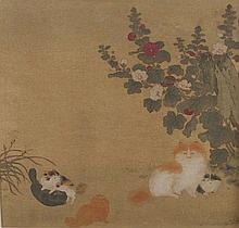 Cat with kittens in floral landscape, watercolour
