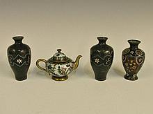 A Japanese cloisonné enamel miniature teapot, the