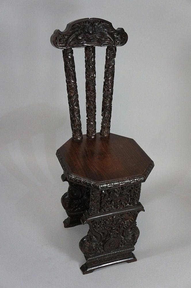 A fine quality Chinese hardwood chair the shaped