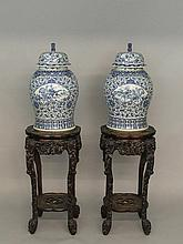 A good pair of large 19th Century Chinese baluster