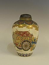 A good Japanese Satsuma pottery baluster vase the