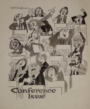Williams, Glan, cartoonist  (1911 - 1986), original cartoon, c1970, CONFERE