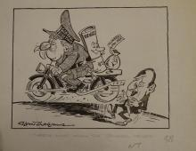 Williams, Glan, cartoonist  (1911 - 1986), original cartoon, c1970, NEEDS M