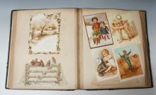 Victorian, large format leather bound Scrap Album, Jessie Ouston on cover,