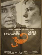Cinema, French Language Poster, Scorpio, 1973, Burt Lancaster, Alain Delon,