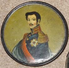 Snuff box, Japanned papier mache with competent, but naïve, hand painted po