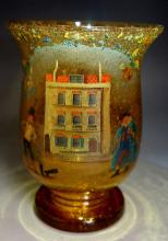 A 19th Century amber glass vase, painted with Dickens characters, everted r