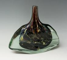 A Mdina axe glass vase, in shades of yellow and mauve, designed by Michael