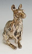 An Edwardian silver plated kangaroo, realistically modelled, 17cm high