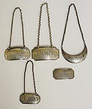 A selection of five  decanter labels, mostly Georgian, various styles and d