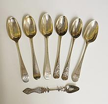 A selection of seven silver spoons, to include: a pair of Irish silver teas