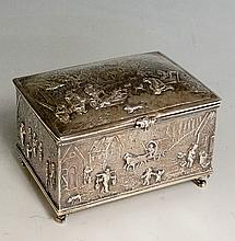 A good very early 20th Century Continental silver casket form trinket box,