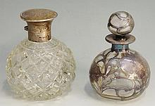 An Art Nouveau silver mounted globular form scent bottle, the body and stop