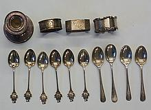A selection of silver items to include: a set of six teaspoons, the termina