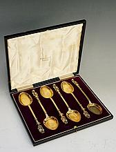 A set of six silver gilt Apostle spoons, all the terminals depicting St Pet