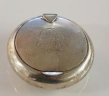 A silver snuff box, plain compressed globular form, the hinged lid centrall