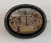 A 19th Century Italian micro mosaic brooch detailed with St Peter's Basilic