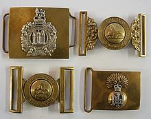 Four military buckles including Scottish King's Borderers, The King's Regim
