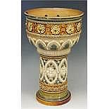 An unusual Doulton water filter? of bowl and pedestal form, the upper secti