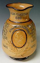 A Doulton Lambeth W E Gladstone jug the salt glazed body relief moulded wit