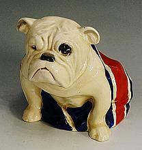 A Royal Doulton British bulldog, draped in the Union Jack, 15cm high, print