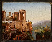 A fine large Italian micro mosaic plaque of The Temple of Virgil at Tivoli w