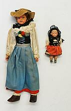 Two celluloid dolls, one 25cm high, the other 9cm high, Circa 1930s