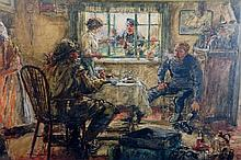 Hector Caffieri - A Fisherman's Kitchen, Newlyn, oil on paper laid on board, signed lower left, 41 cm x 63 cm, framed