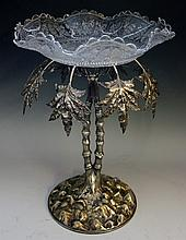 A silver plated table centre piece in the form of a stylised palm tree, the