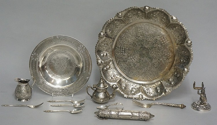 A quantity of silver coloured metal items to include: a scroll case, the cy