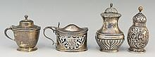 A selection of silver items to include: a pepperette, half lobed body, acor