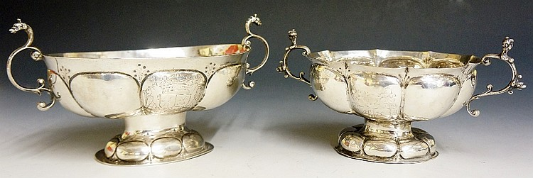 A near pair of 17th Century Dutch silver dishes, the lobed oval bodies engr