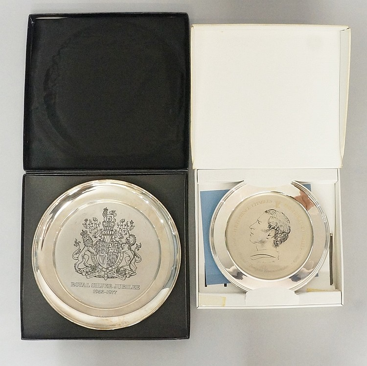 Two silver commemorative dishes, the first celebrating the 30th Birthday of
