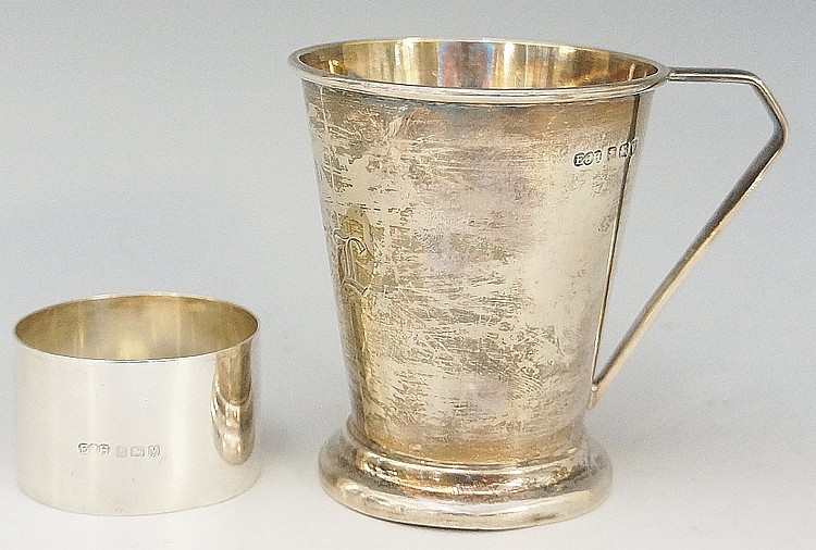 A silver christening tankard, the conical form body engraved with the initi
