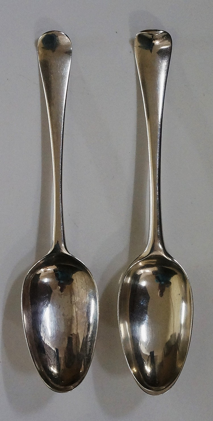 Two late 18th / early 19th Century Dutch silver table spoons, the terminal